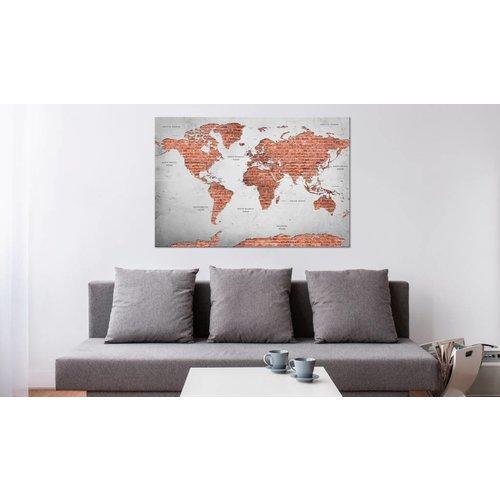 Afbeelding op kurk - Wereld van stenen, wereldkaart, Steen look, 2 Maten, 1luik