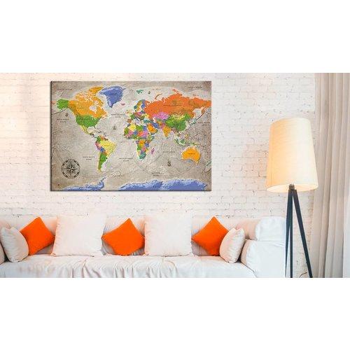 Afbeelding op kurk - World Map: Retro Style, Wereldkaart, Multikleur , 1luik
