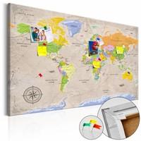 Afbeelding op kurk - Maps: Vintage Style, wereldkaart, Multi gekleurd, 2 Maten, 1luik