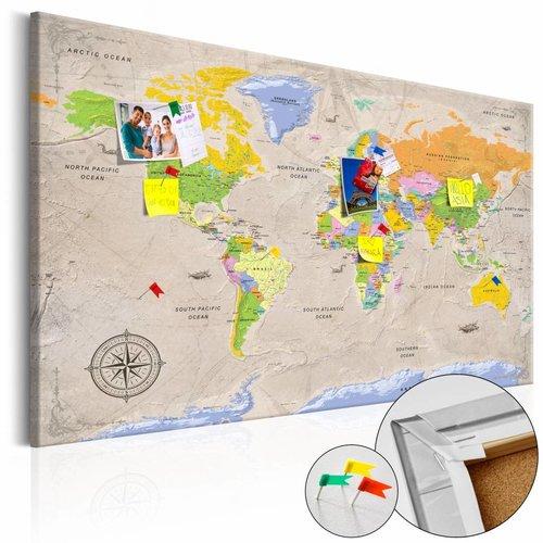 Afbeelding op kurk - Maps: Vintage Style, Wereldkaart, Multikleur , 1luik