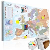 Afbeelding op kurk - World Maps: Europa, Multi gekleurd, 2 Maten, 1luik