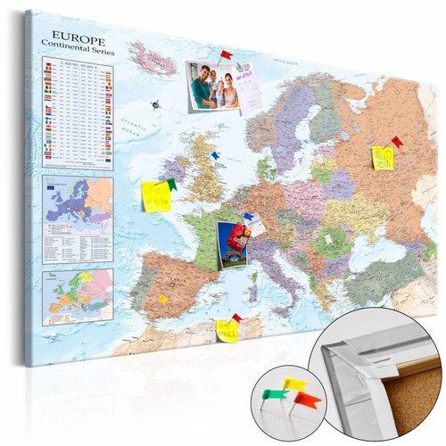 Afbeelding op kurk - World Maps: Europa, Multikleur , 1luik