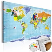 Afbeelding op kurk - Wereldkaart gedetailleerd, Multi gekleurd, 2 Maten, 1luik