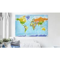 Afbeelding op kurk - Wereldkaart gedetailleerd