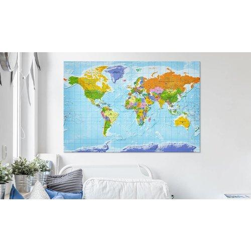 Afbeelding op kurk - Wereldkaart Gedetailleerd, Multikleur , 1luik