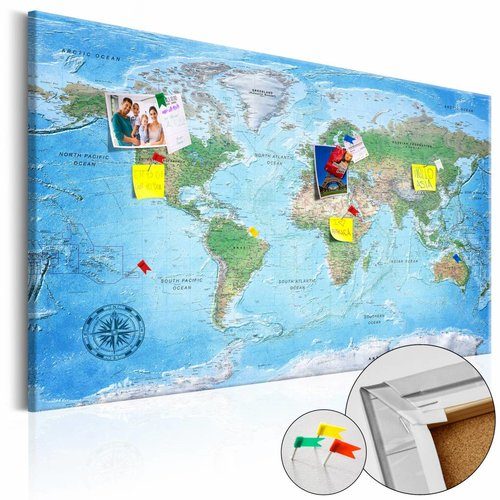 Afbeelding op kurk - Traditionele wereldkaart, Multi gekleurd, 2 Maten, 1luik