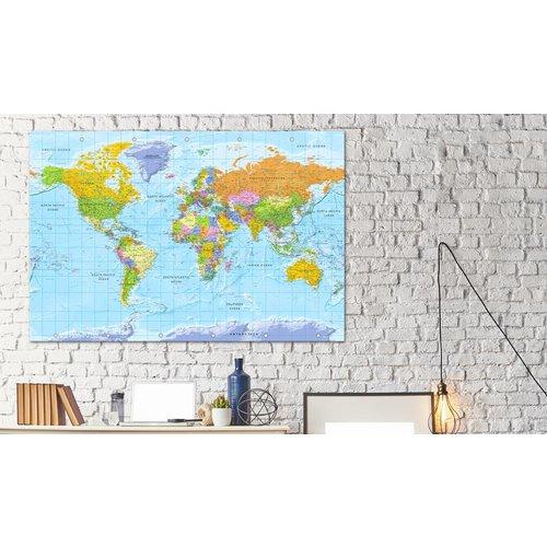 Afbeelding op kurk - Orbis Terrarum, Wereldkaart, Multikleur , 1luik