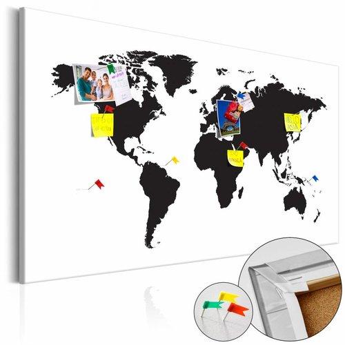 Afbeelding op kurk - Wereldkaart in Zwart en Wit, 1luik