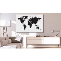 Afbeelding op kurk - Wereldkaart in zwart en wit, 2 Maten, 1luik