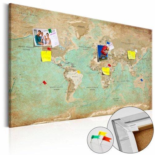 Afbeelding op kurk - Celadon Journey, wereldkaart, Blau/Bruin, 2 Maten, 1luik