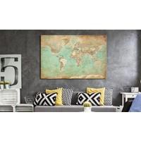 Afbeelding op kurk - Celadon Journey, Wereldkaart, Blauw/Bruin, 1luik