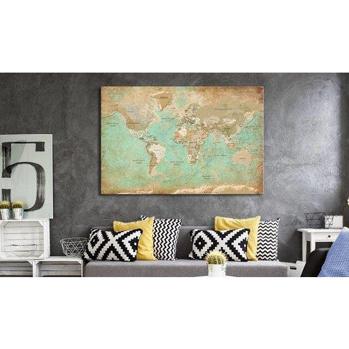 Afbeelding op kurk - Celadon Journey, wereldkaart