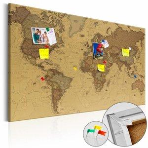 Afbeelding op kurk - Oude wereldkaart, Bruin, 2 Maten, 1luik