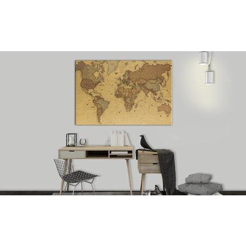 Afbeelding op kurk - Oude Wereldkaart, Bruin,  1luik