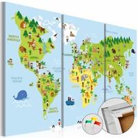 Afbeelding op kurk - Kinder wereldkaart, Groen/Blauw, 2 Maten, 3luik