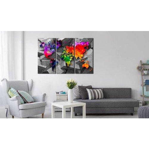 Afbeelding op kurk - Wereldkaart Op Abstracte Achtergrond, Multikleur , 3luik
