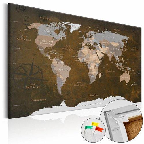 Afbeelding op kurk - Kaneelreizen, Wereldkaart, Bruin/Grijs, 1luik