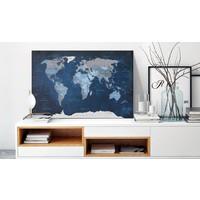 Afbeelding op kurk - Dark Blue World, Wereldkaart, Blauw,  1luik