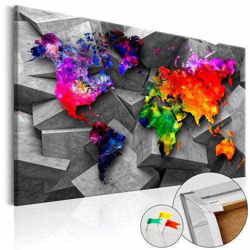 Afbeelding op kurk - Wereld op Kubussen  wereldkaart, Multi gekleurd, 2 Maten, 1luik