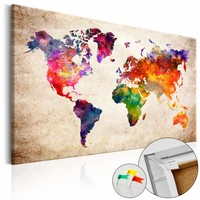 Afbeelding op kurk - Wereldkaart In Kleur, Multikleur , 1luik