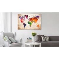 Afbeelding op kurk - Wereldkaart in kleur, Multi gekleurd, 2 Maten, 1luik