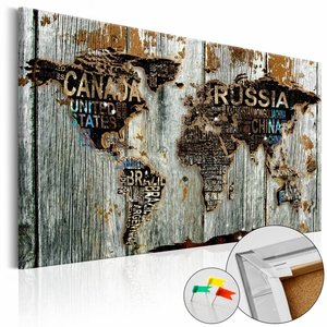 Afbeelding op kurk - Houten Grenzen, Wereldkaart, Zwart/Bruin/Grijs, 1luik