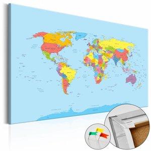 Afbeelding op kurk - Wereldkaart in kleuren