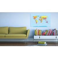 Afbeelding op kurk - Wereldkaart in kleuren, Multi gekleurd, 2 Maten, 1luik