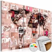 Afbeelding op kurk - Banksy Graffiti Collage, Wereldkaart, Roze, 3luik