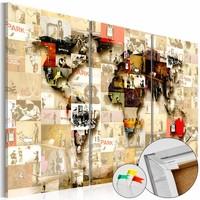 Afbeelding op kurk - Banksy Collage, Wereldkaart, Geel, 3luik