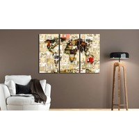Afbeelding op kurk - Banksy collage, wereldkaart, Geel,  3 Maten, 3luik