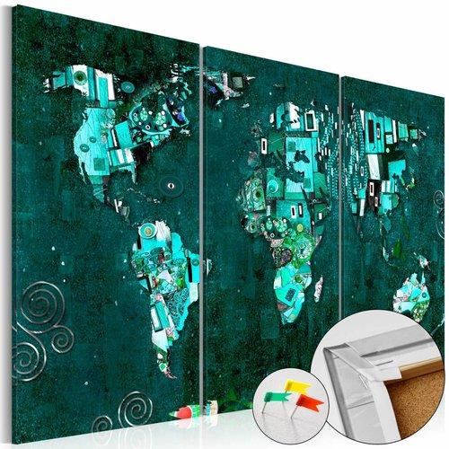 Afbeelding op kurk - Emerald World, wereldkaart, Groen, 3 Maten, 3luik