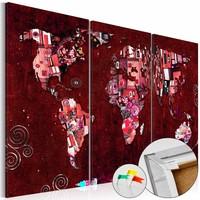 Afbeelding op kurk - Ruby World, wereldkaart, Rood, 3 Maten, 3luik