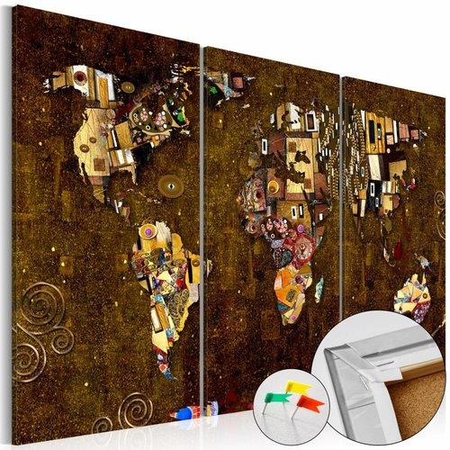 Afbeelding op kurk - Gouden kaart, wereldkaart, Goud,3 Maten, 3luik