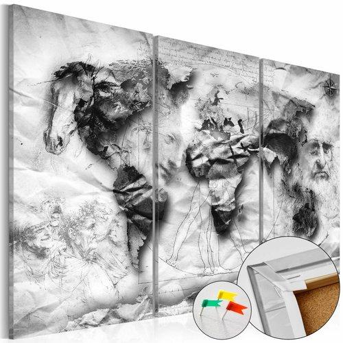 Afbeelding op kurk - World's Design, Wereldkaart, Grijs,  3luik