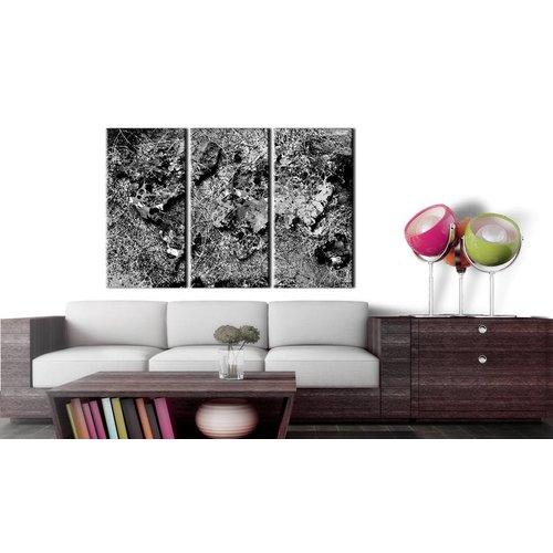 Afbeelding op kurk - Grijze draad, wereldkaart, Zwart-Wit, 3 Maten, 3luik