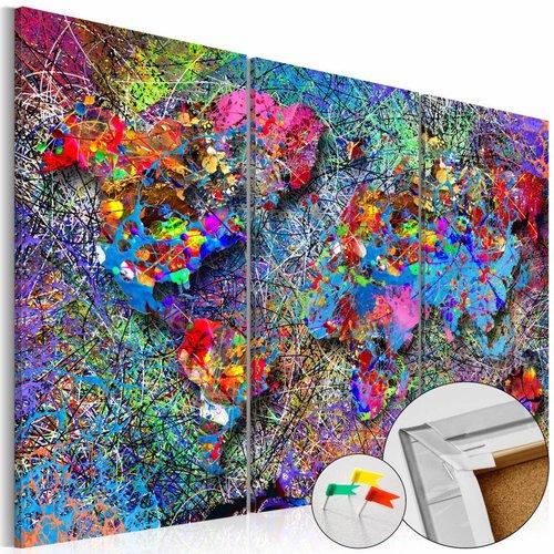 Afbeelding op kurk - Kleurrijke wereldkaart, Multi-gekleurd, 3 Maten, 3luik