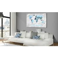 Afbeelding op kurk - Blue Pilgrimages , wereldkaart, Blauw/Grijs, 3 Maten, 1luik
