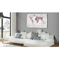 Afbeelding op kurk - Roze Continenten, Wereldkaart, Roze/Grijs, 1luik