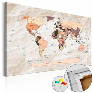 Afbeelding op kurk - Stony Oceans, Wereldkaart, Beige, 1luik