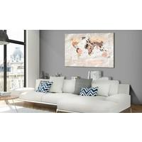 Afbeelding op kurk - Stony Oceans, wereldkaart, Beige, 3 Maten, 1luik