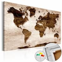 Afbeelding op kurk - Bruine Aarde , wereldkaart, 3 Maten, 1luik