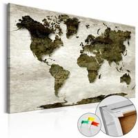 Afbeelding op kurk - Groene Planeet , wereldkaart, 3 Maten, 1luik