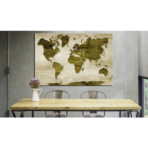 Afbeelding op kurk - Bos Planeet, wereldkaart, Groen, 3 Maten, 1luik