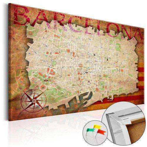 Afbeelding op kurk - Kaart van Barcelona, Multi gekleurd, 3 Maten, 1luik