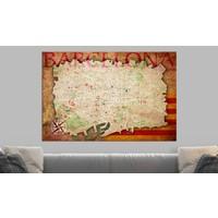 Afbeelding op kurk - Kaart van Barcelona, Multikleur , 1luik
