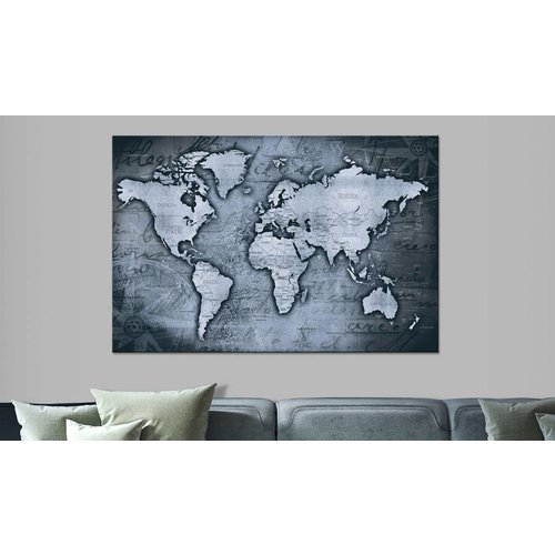 Afbeelding op kurk - Sapphire World , Wereldkaart, Blauw, 1luik