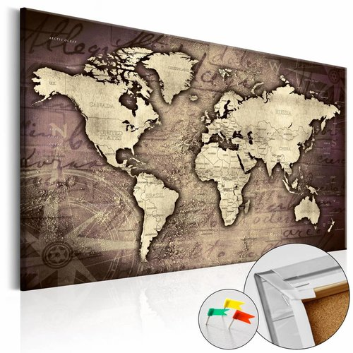 Afbeelding op kurk - Precious World , Wereldkaart, Bruin, 1luik