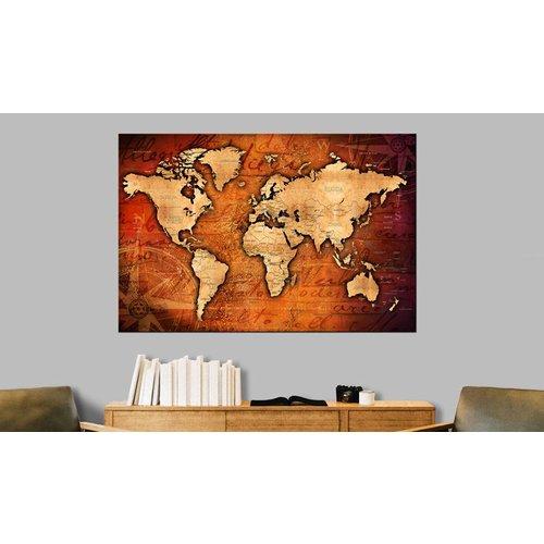 Afbeelding op kurk - Amberkleurige Wereld , Wereldkaart, 1luik