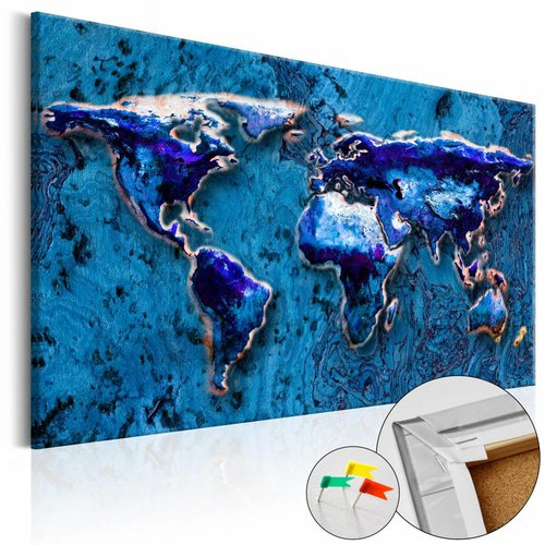 Afbeelding op kurk - Blauwe Onderdompeling , wereldkaart, 3 Maten, 1luik